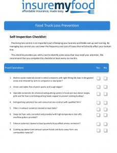 Loss prevention check list - Food Truck